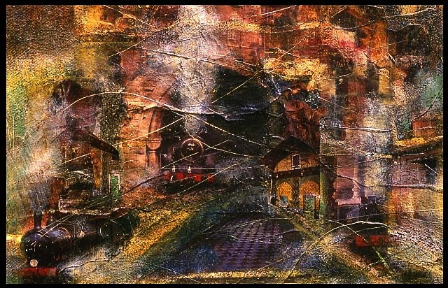 Raffic Ahamed, The Train 2007, mixed media collage