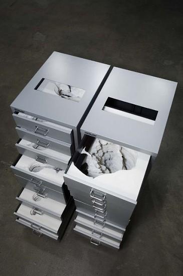 Noriko Ambe, Flat File Globe 3-A,B 2006, yupo, metal cabinets, formcore