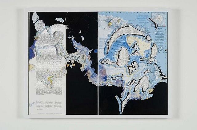 "Noriko Ambe, Flat Globe ""Atlas"" 2006, cuts on an atlas book"