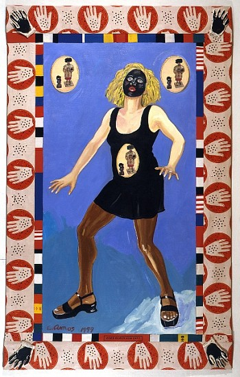 Emma Amos, Does Black Rub Off? 1999, oil and photo transfer on linen with African fabric borders