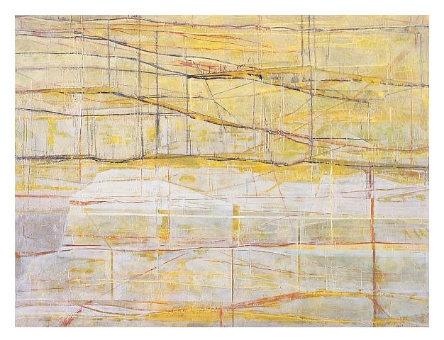 Marcus Andre, Yellow Structures 2004, encaustic on canvas