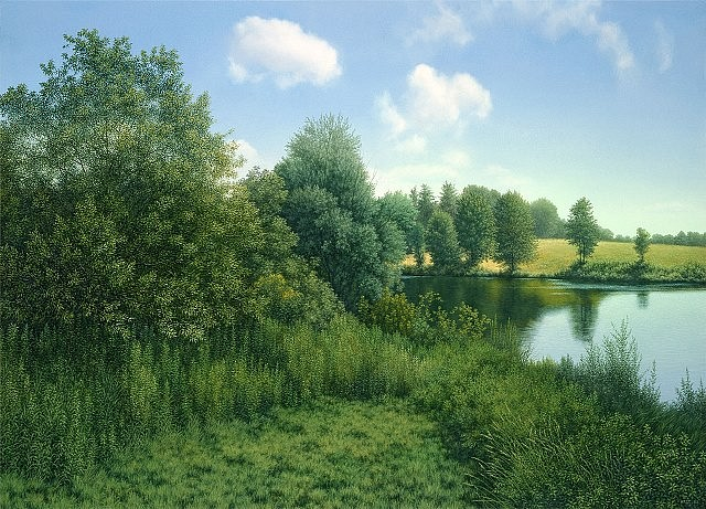Timothy Arzt, The Pond at Hillstead 2002, oil on panel