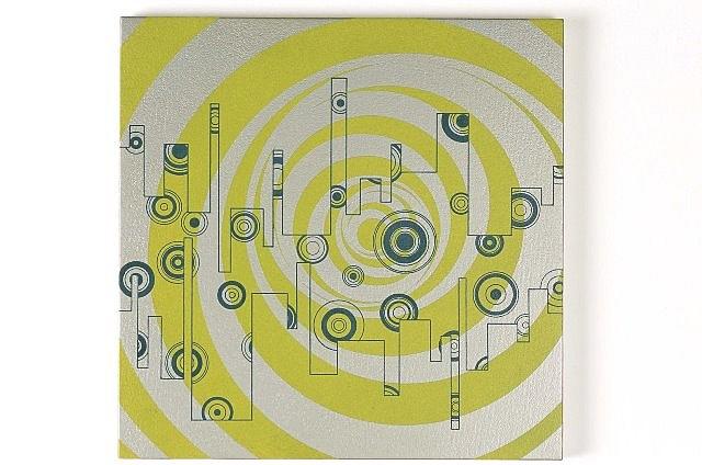 Jun Fujita, Untitled (yellow-green spiral) 2000, acrylic on board