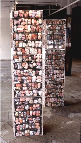 Elia Alba, Multiplicities 2002, plexiglass, photocopy transfer over muslin and thread composed of 1800 unique heads