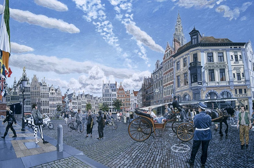 Huw Parsons, The Great Market Square - Antwerp 1996, oil on board