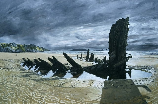 Huw Parsons, On Rhossili Beach 1995, oil on board