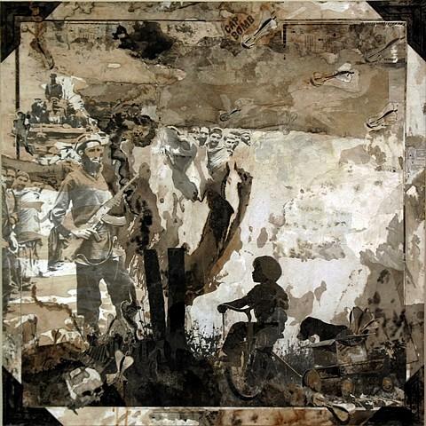 Daniel Pittman, Innocence or Ignorance (American Album Series) 2010, Collage - paper, paint, coffee