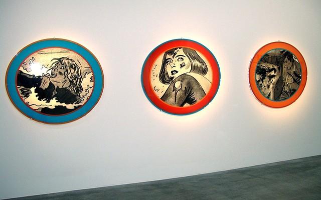 Dara Birnbaum, Quiet Disaster 1999, Installation - 3 plexiglass panels with duratrans prints