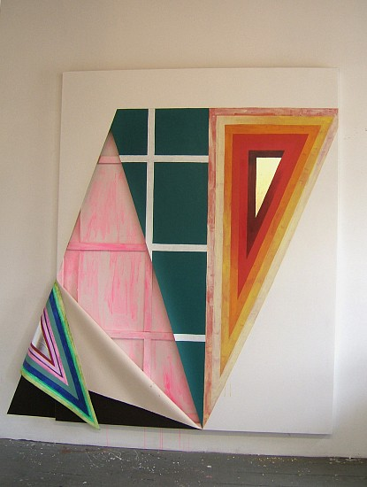 Sarah Cain, Untitled (Houston) 2010, silver leaf, gold leaf, acrylic and gouache paint on canvas, stretcher bars and wall