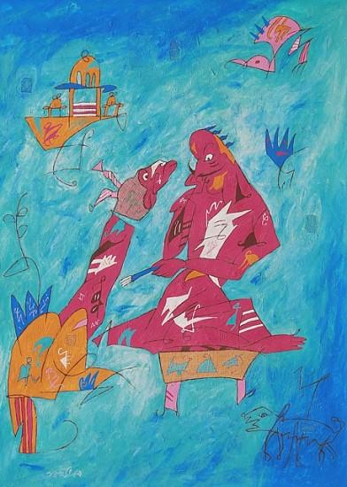 Bibhuti Chakraborty, Contemplate 2009, Tempera on paper
