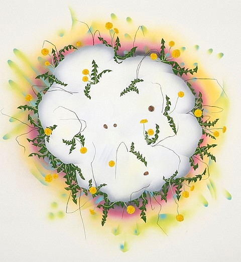 Amy Chan, Dandelions 2010, gouache and acrylic on paper