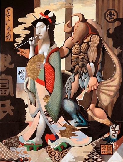 Gabrielle Bakker, Geisha and Minotaur 2008, oil and 22k gold on panel
