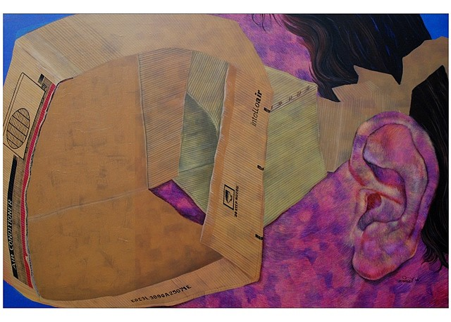 Mrinal Dey, Progressive View 2008, acrylic, pencil on canvas