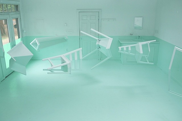 Kyung Woo Han, Green House 2009, wood, paint, invisible wire