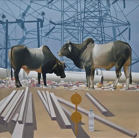 Joydip Sengupta, Urban Muse 2010, oil on canvas