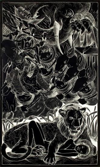 Ellen Raquel LeBow, Revelation Deluge 2008, ink on clayboard