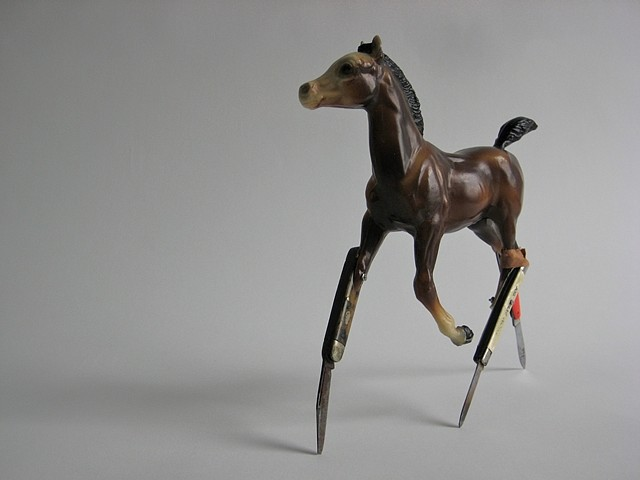 Peter Cole, Carter 2010, plastic horse, folding knives, micro-bolts