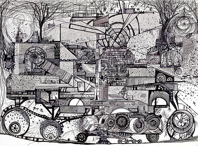Greg Giegucz, Moneterey Tree Building 2006, ink and graphite on paper