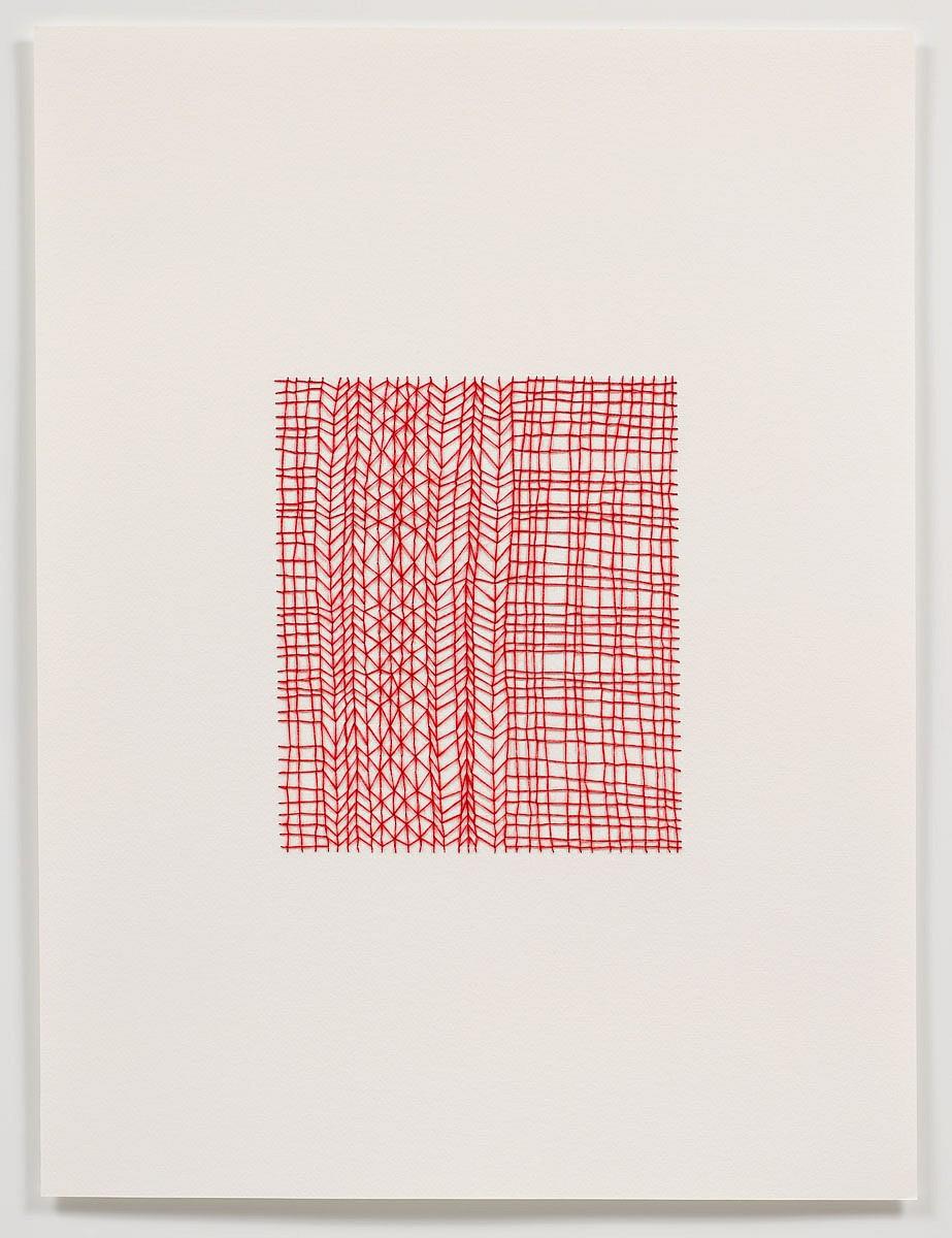 Emily barletta untitled pattern 1 2011 thread and paper 24 x 18
