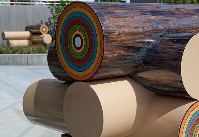 Jenny Heishman, Cabin Corners (detail) 2010, aluminum, urethane epoxy paint, concrete