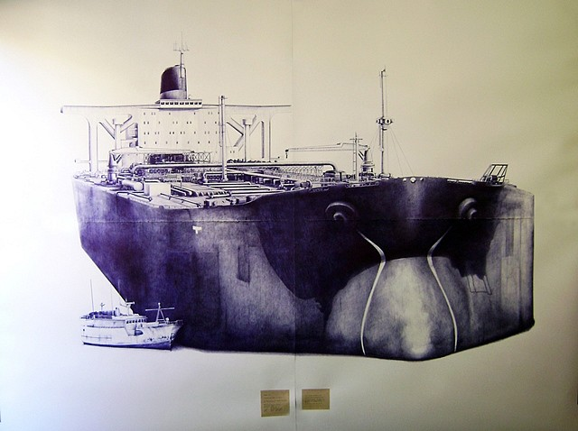 Gamaliel Rodriguez, The Critical Moment of Whaling 2010, ballpoint pen and text on paper