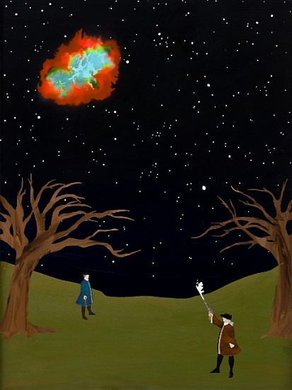 Ben White, A Startled Hamilton Throws Away his Fire at a Suddenly Appearing Crab Nebula 2009, acrylic on panel