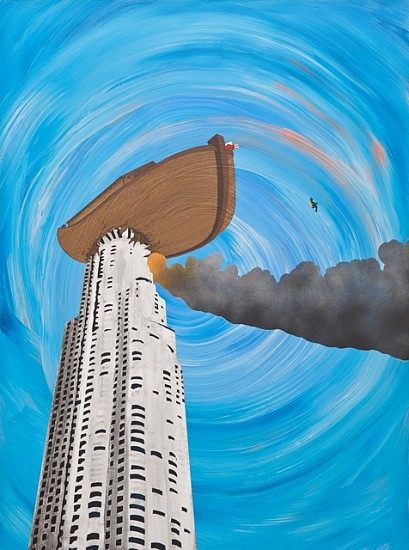 Ben White, Noah Sends Forth a Chendytes Lawi After Coming to Rest Atop the Library Tower 2010, acrylic on panel