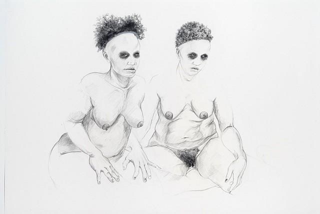 Zoe Charlton, Cousin 7 2008, graphite, gouache on paper