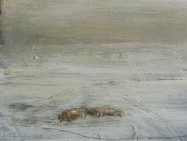 Mary Donnelly, Snow Falls out of the Dark Sky Above 2011, oil on plaster, on canvas supported by board