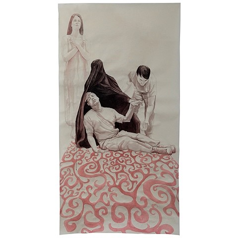 Tatiana Garmendia, Lamentation 4 (Lift Me Up Let Me Go) 2011, Sumi ink on Okawara