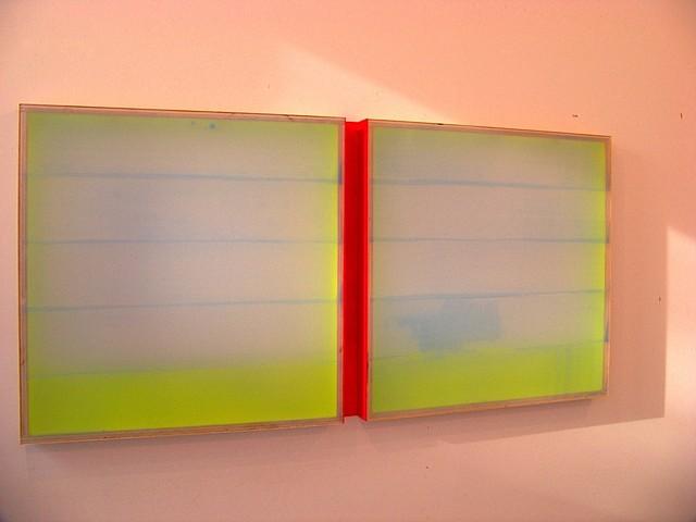 Heather Hutchison, Greener Pastures 2010, plexiglass, aluminum, enamel, birch plywood, beeswax, pigment
