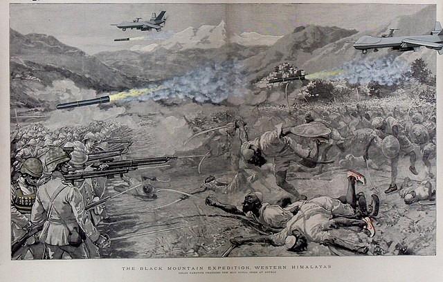 Rajkamal Kahlon, Black Mountain Expedition 2011, Ink and Gouache on Archival Digital Print