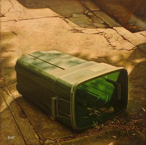 Justin Allen, Green Trashcan on Side 2005, acrylic