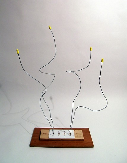 B Wurtz, Untitled 2010, wood, wire, plastic light switch plate, screws, plastic wire caps