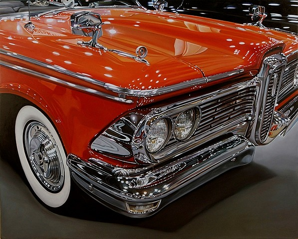 Cheryl Kelley, 59 Edsel 2011, oil on aluminum panel