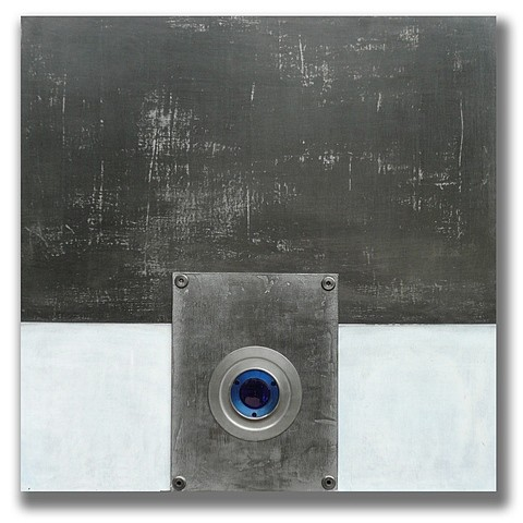 Mauricio Morillas, Blue Lens 2010, mixed media with metal, plaster, acrylic, graphite and resin on wood
