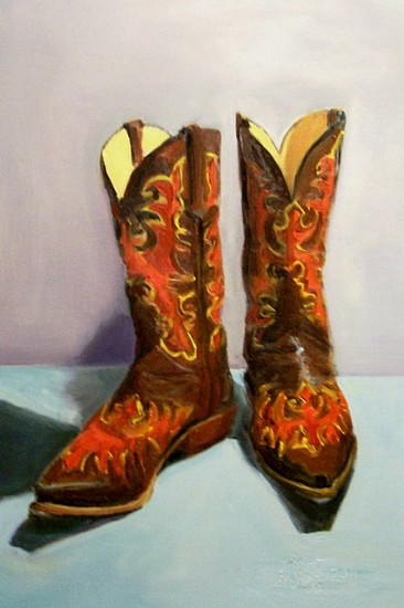 Viola Moriarty, My Cowgirl Boots 2011, oil on birchwood board
