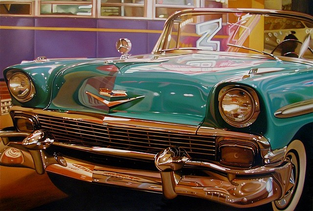 Cheryl Kelley, Chevy 2011, oil on aluminum panel