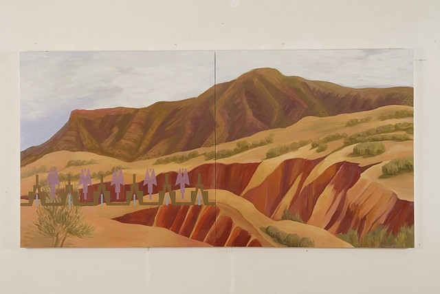 Kay WalkingStick, New Mexico Arroyos 2011, oil on wood panel