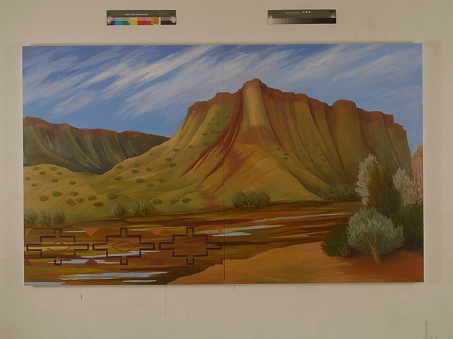 Kay WalkingStick, Rio Grande Gorge 2011, oil on wood panel