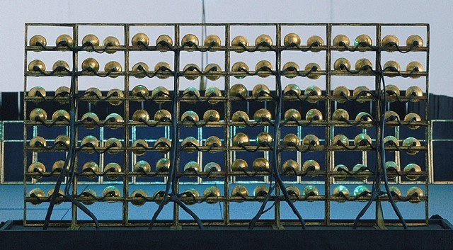 Jonathan Berger, Untitled (rear detail of floor construction flood light) 2008, tin, brass, permanent marker, miniature light bulbs and wiring