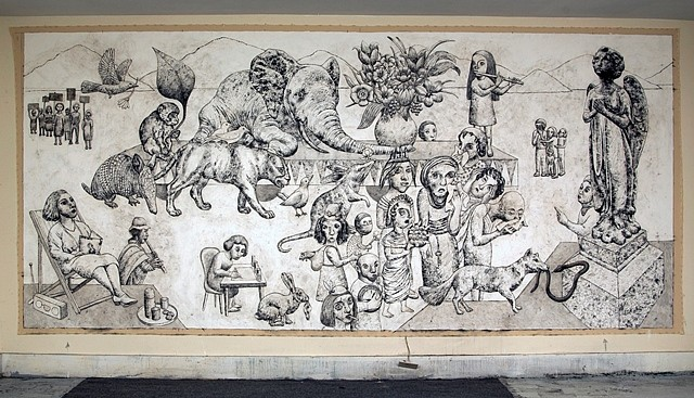 Erica Daborn, Funeral for the Last Elephant 2011, Charcoal on Canvas