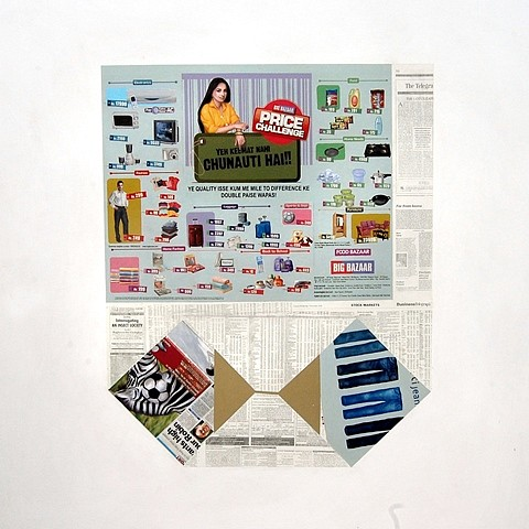 Jayanta Roy, Thonga (A Newspaper Bag) 2012, mixed media on canvas