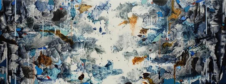 Linda Mieko Allen, Atmospherics XV 2010, acrylic/ink transfer, acrylic pigment, graphite, aluminum powder, wax on aluminum panel