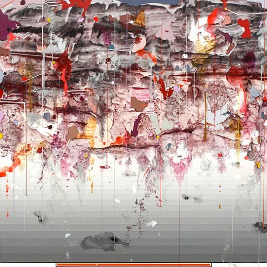 Linda Mieko Allen, Atmospherics XVII 2010, acrylic/ink transfer, acrylic pigment, graphite, aluminum powder, wax on aluminum panel