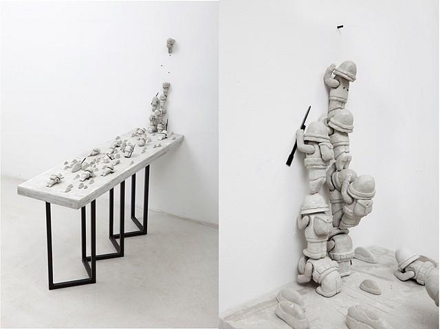 Rimma Arslanov, Untitled 2010, concrete, wood, red beads