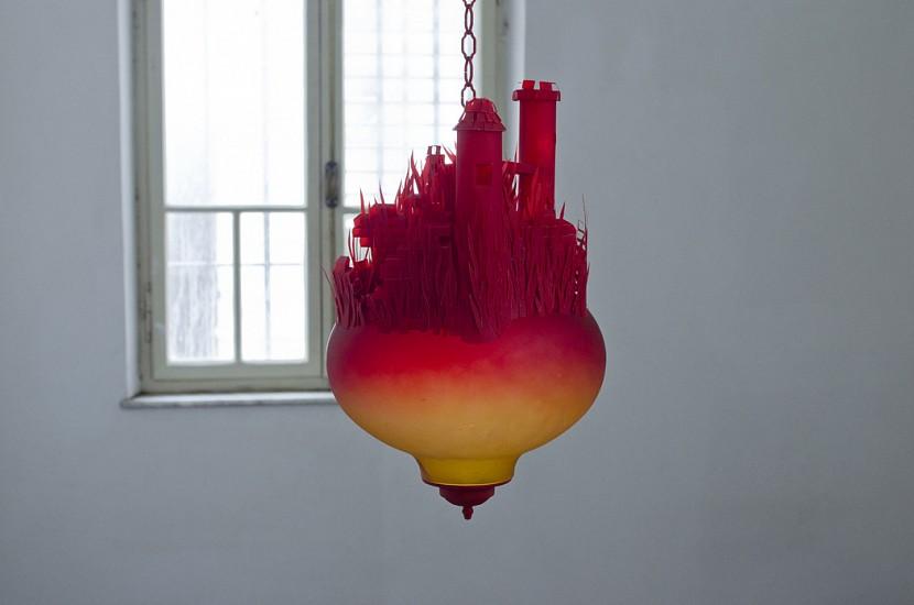 Rimma Arslanov, Castle 2011, glass, chain, red color, red pergament paper