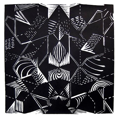 Florence Neal, Topkapi Riff 2010, linoleum block print
