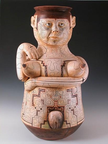 Kukuli Velarde, Chuncha Cretina (PLUNDER ME, BABY Installation/series) 2006, white clay with stains adn wax