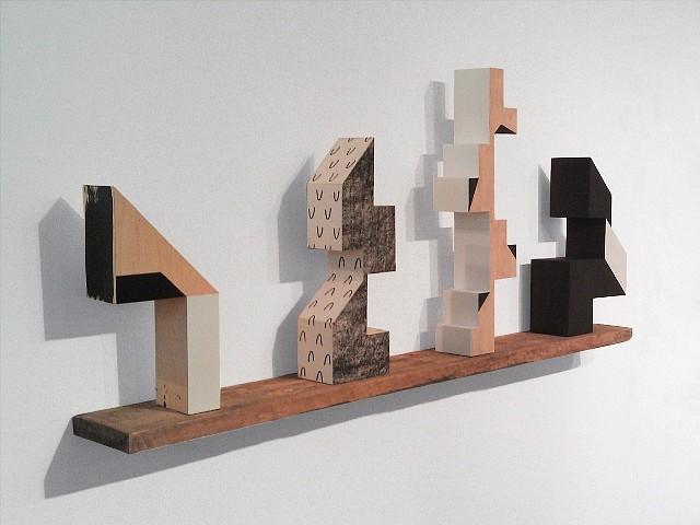 Rachel Beach, Dart, Nod, Steeple, Pivot 2012, acrylic, enamel and screenprint on veneered plywood, reclaimed wood